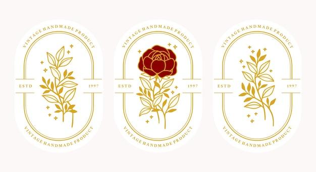 Set di fiore rosa botanico oro vintage disegnato a mano Vettore Premium