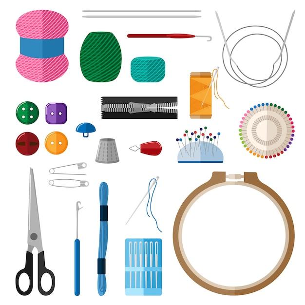 Set per fatti a mano su sfondo bianco. kit per cerchi da ricamo artigianale, fili, filati, aghi, ditale, bottoni, spille, forbici, cursore in stile piatto illustrazione. Vettore Premium