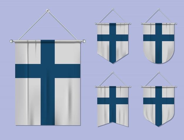 Set di appendere bandiere finlandia con trama tessile. forme di diversità del paese di bandiera nazionale. stendardo modello verticale Vettore Premium