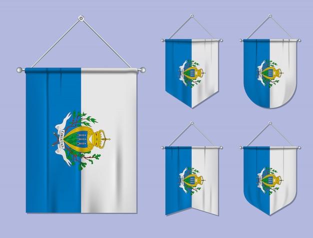 Set di bandiere sospese san marino con trama tessile. forme di diversità del paese di bandiera nazionale. stendardo modello verticale. Vettore Premium