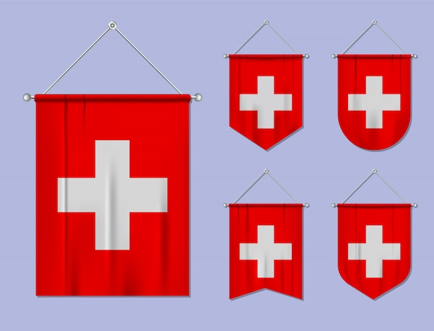 Set di appendere bandiere svizzera con trama tessile. forme di diversità del paese di bandiera nazionale. stendardo modello verticale. Vettore Premium