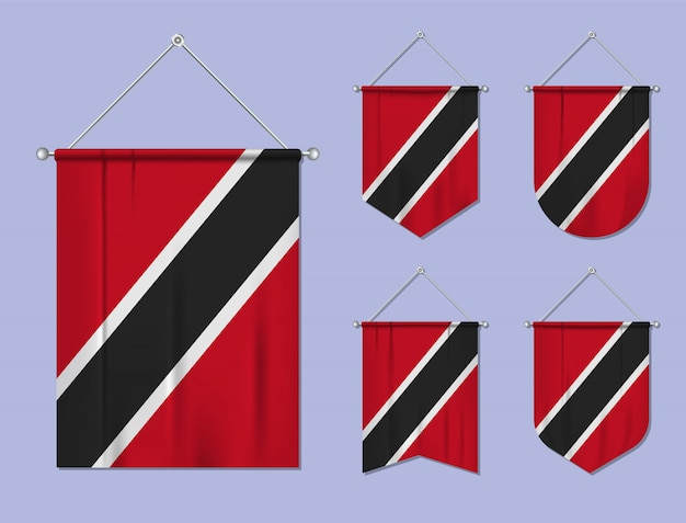 Set di appendere bandiere trinidad e tobago con trama tessile. forme di diversità del paese di bandiera nazionale. stendardo modello verticale. Vettore Premium
