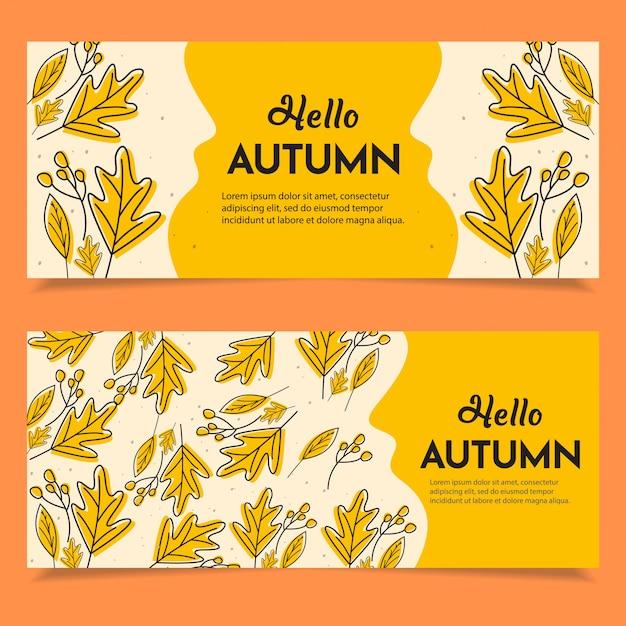Set di banner autunno felice Vettore Premium