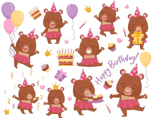 Set di ragazza felice orso in diverse azioni. adorabile animale umanizzato. elementi per la cartolina di compleanno Vettore Premium