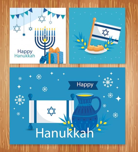 Set di felice hanukkah greeting card Vettore Premium