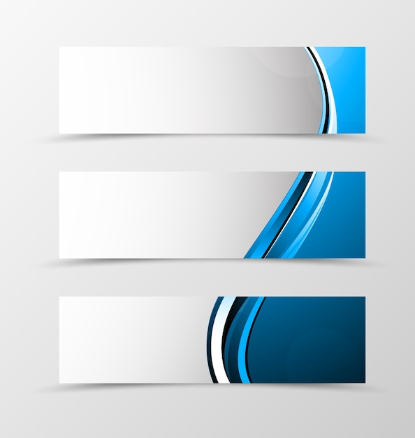 Set di design onda banner di intestazione con linee blu Vettore Premium