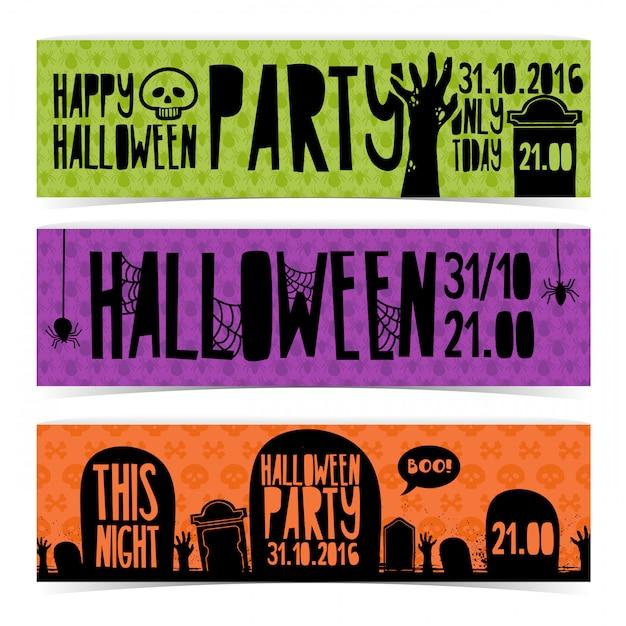 Set di banner orizzontale con felice festa di halloween. Vettore Premium