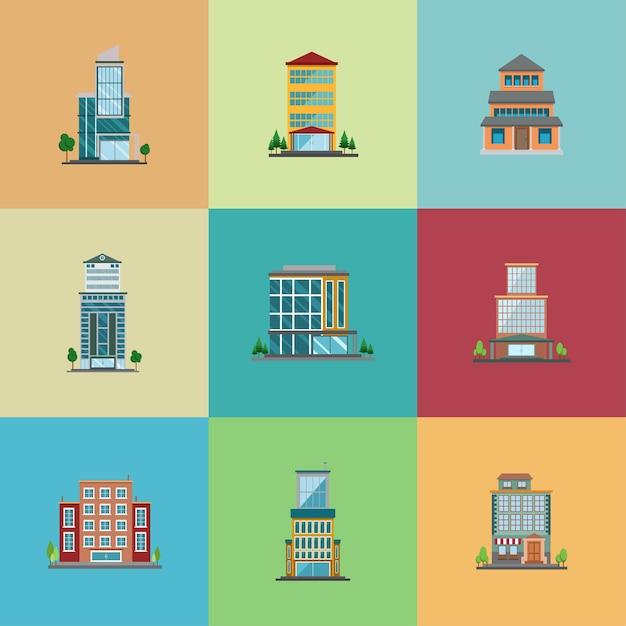 Set di design piatto dell'hotel Vettore Premium