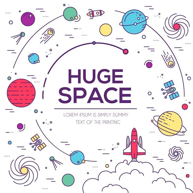 Set di enorme universo spaziale illustrazione. infografica spaziale. icona dello spazio. Vettore Premium