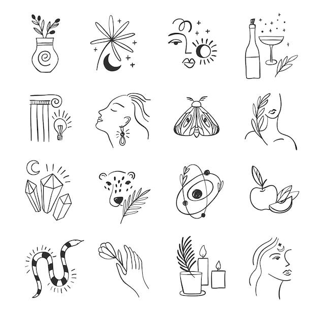 Set di icone per i social media. fiori alla moda e alchimia. elementi lineari. Vettore Premium