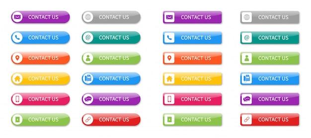 Impostare le icone di contattarci pulsante isolato. Vettore Premium