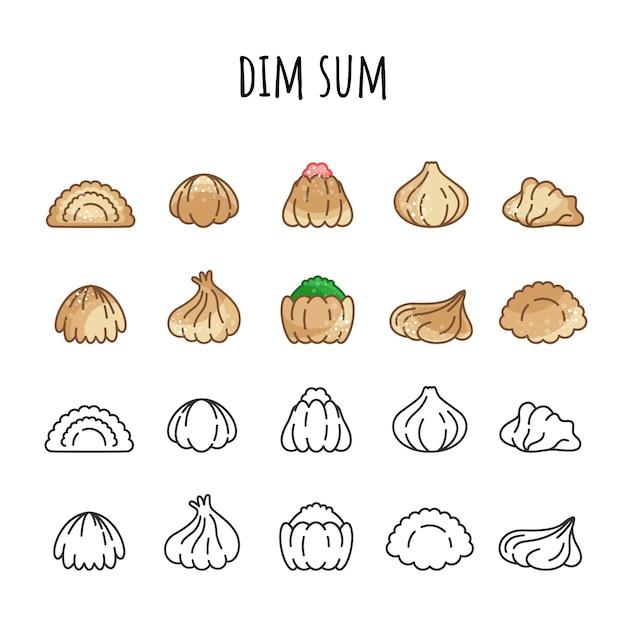 Set di icone di dim sum. colore e contorno cibo caldo Vettore Premium