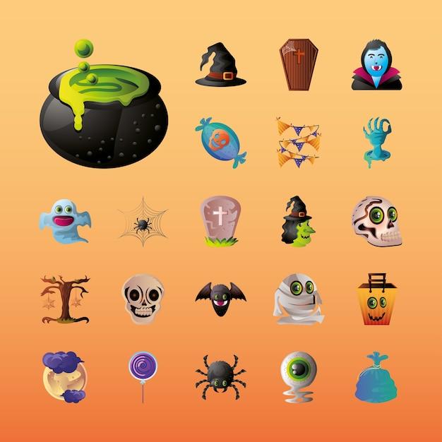Set di icone per halloween su disegno di illustrazione arancione Vettore Premium