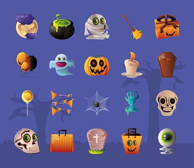 Set di icone per halloween su design illustrazione viola Vettore Premium