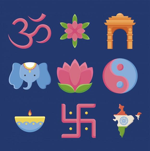 Set di icone giorno dell'indipendenza india Vettore Premium