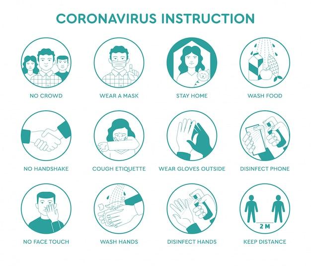 Set icone infografica di suggerimenti per la prevenzione quarantena istruzioni coronavirus covid-19 dentro e fuori per le persone e la società. regole di sicurezza durante la pandemia ncov-2019. poster informativo, brochure. Vettore Premium