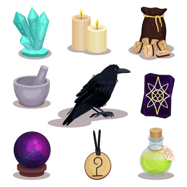 Set di icone relative al tema della divinazione. oggetti mistici. candele a sfera magica, rune in legno, corvo, tarocchi Vettore Premium