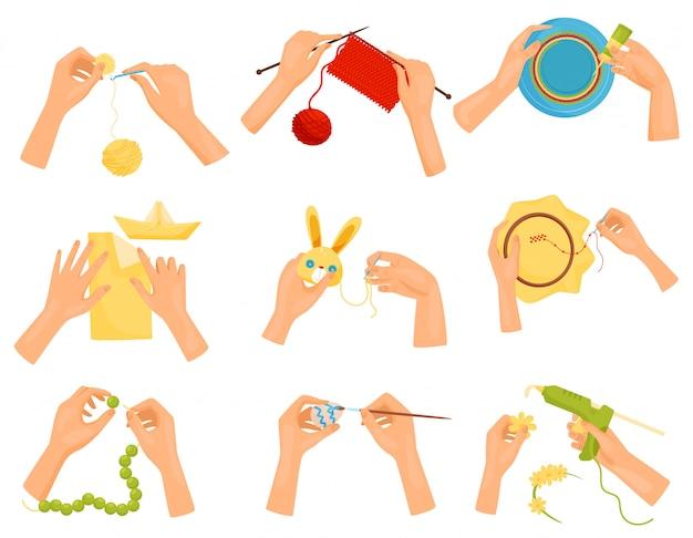 Set di icone che mostrano diversi hobby. mani che fanno mestieri fatti a mano. maglieria, decorazione, pittura, cucito Vettore Premium
