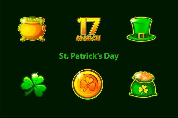 Set di icone dei simboli di giorno di san patrizio. confezione simboli vacanza trifoglio, cappello, monete, trifoglio, trifoglio. Vettore Premium