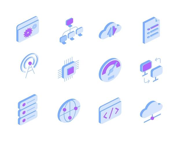 Set di icone con internet e servizi online in vista isometrica. segni tecnologici: connessione globale, archiviazione cloud, trasferimento dati, impostazioni, documenti, punto di accesso wi-fi, chip, simboli di codifica Vettore Premium