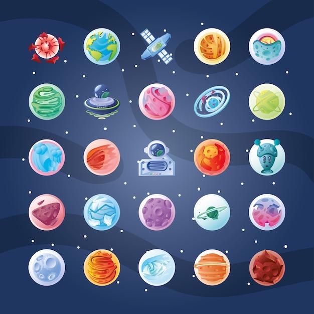 Set di icone con design illustrazione di pianeti o asteroidi Vettore Premium