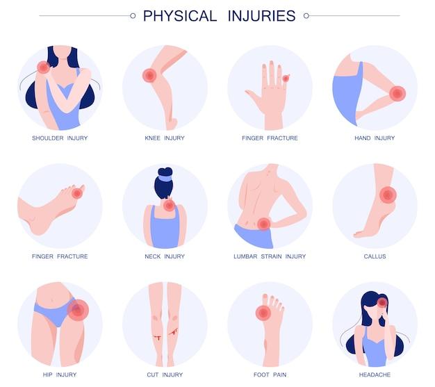 Set di illustrazione di lesioni corporali. collezione di cartoni animati con diversi tipi di dolore nel corpo umano. umano che ha un danno doloroso, un trauma. Vettore Premium