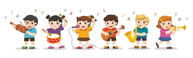Impostare l'illustrazione di bambini che suonano strumenti musicali. hobby e interessi. Vettore Premium