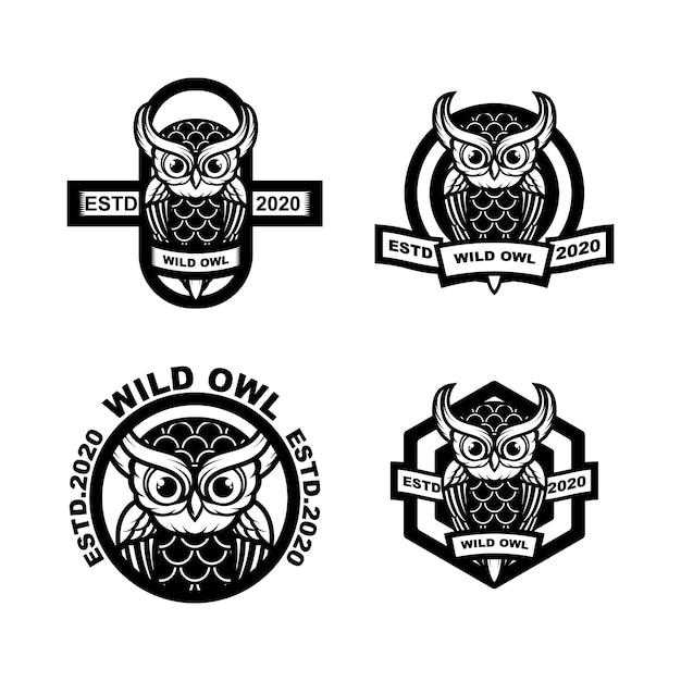 Impostare il logo del gufo vintage illustrazione Vettore Premium