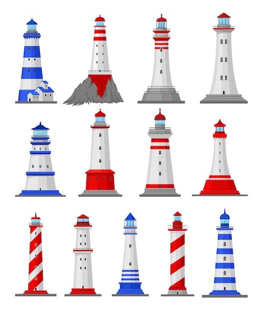 Serie di illustrazioni di diversi tipi di fari. illustrazione. Vettore Premium