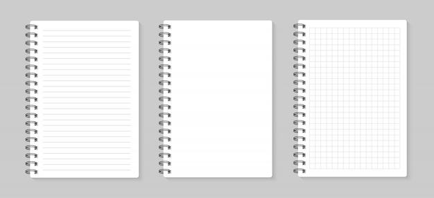 Set di fogli di illustrazioni. foderato e quadrato, su sfondo grigio Vettore Premium