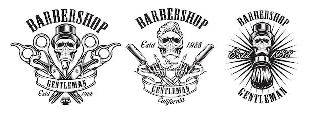 Serie di illustrazioni in stile vintage per un barbiere su uno sfondo bianco. illustrazione in un gruppo. Vettore Premium