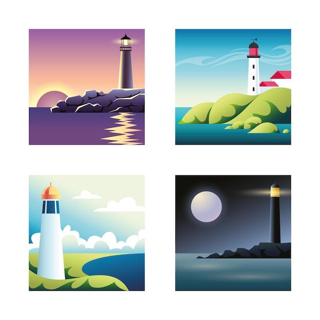 Serie di illustrazioni con mare e fari Vettore Premium