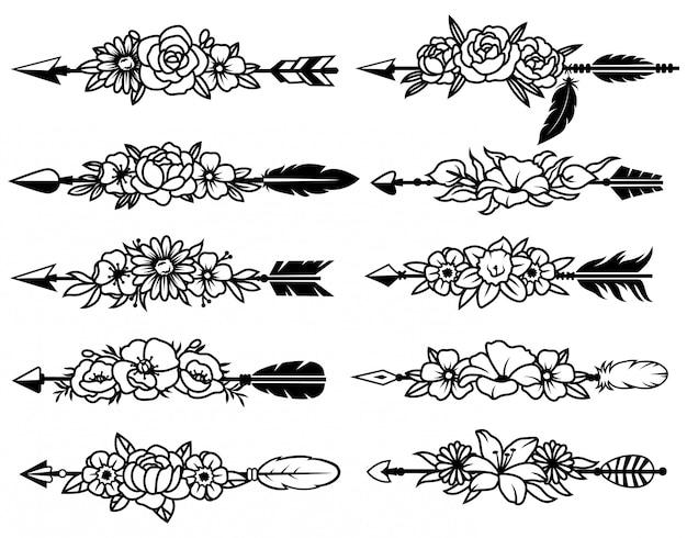 Set di frecce indiane con fiori. raccolta di varie frecce tribali etniche con un bouquet floreale. Vettore Premium