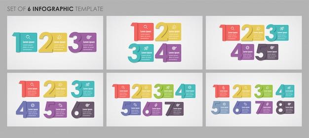 Set di modello di progettazione infografica con 3, 4, 5, 6, 7, 8 opzioni o passaggi. concetto di affari. Vettore Premium
