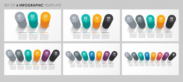 Set di progettazione di etichette infografiche con 3, 4, 5, 6, 7, 8 opzioni o passaggi. concetto di affari. Vettore Premium
