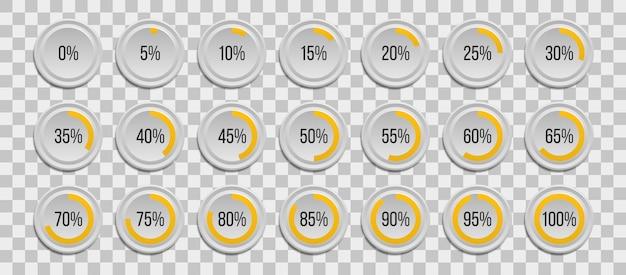 Set di grafici a torta percentuale infografica isolati su sfondo trasparente. segmento delle icone del cerchio 10% - 100% per web design, interfaccia utente (ui) o infografiche. Vettore Premium