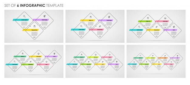 Set di design infografico linea sottile con icone e 3 o 4, 5, 6, 7, 8 opzioni o passaggi. concetto di affari. Vettore Premium
