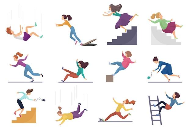 Set di donna femminile ferita che cade dalle scale e oltre il bordo, scala, caduta dall'altitudine Vettore Premium