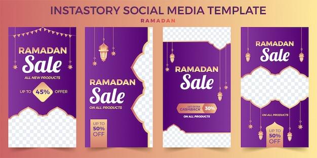 Set di storie di instagram ramadan kareem, foto modello di instagram, promozione di banner pubblicitari Vettore Premium
