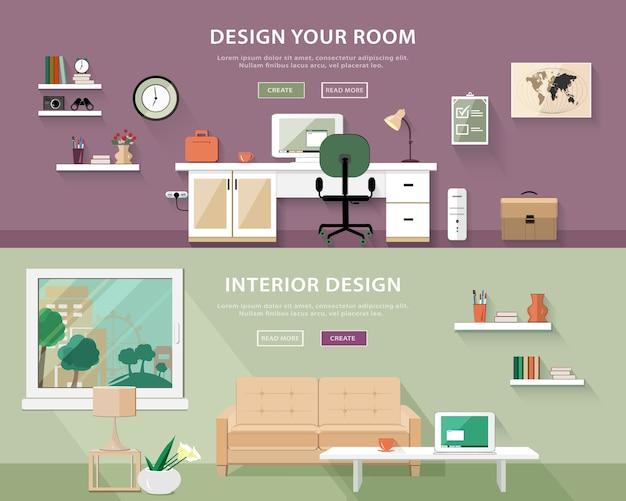 Set di tipi di camere interne. illustrazione di banner web Vettore Premium