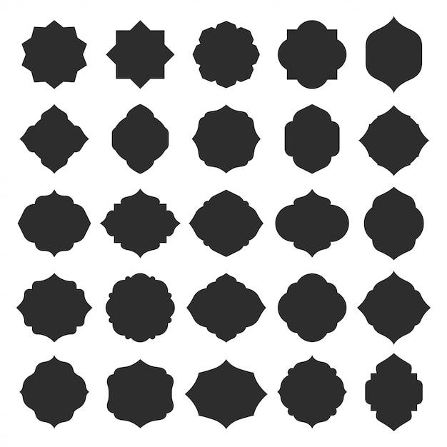 Insieme dei distintivi di forme cornici islamiche Vettore Premium