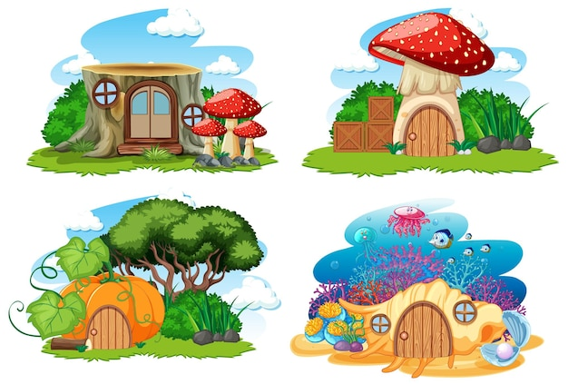 Set di gnomo isolato fiaba case in stile cartone animato su sfondo bianco Vettore Premium