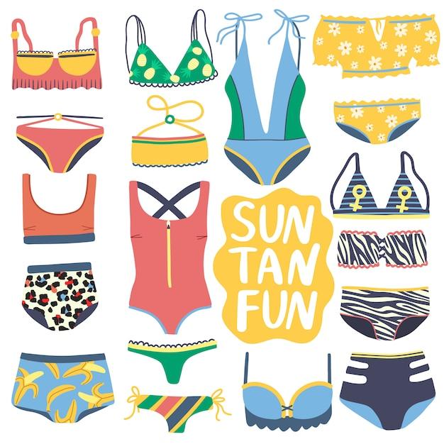 Set di costumi interi isolati e due pezzi. collezione bikini colorati disegnati a mano. costumi da bagno alla moda con top bikini e mutandine inferiori su sfondo bianco. Vettore Premium