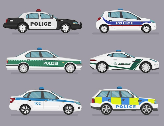 Set di auto della polizia isolate., berlina, berlina, auto sportiva. Vettore Premium