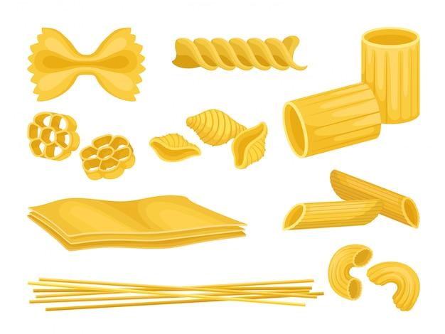 Set di pasta italiana di diverse forme. maccheroni crudi prodotto alimentare Vettore Premium