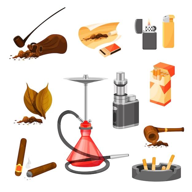 Insieme di articoli relativi al tema del fumo. tabacco e pipe, sigari, narghilè e vaporizzatore, accendini e pacchetto di sigarette Vettore Premium