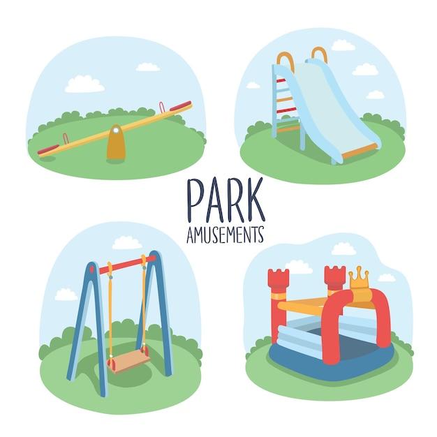 Insieme di elementi di parco giochi per bambini Vettore Premium