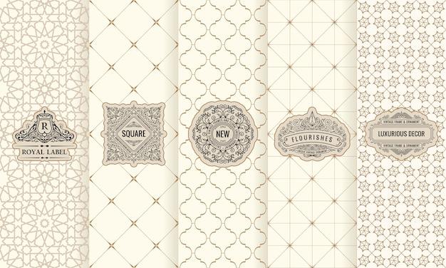 Set di etichette con logo cornice confezione Vettore Premium