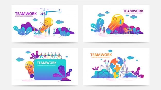Set di landing page e pagina web con il concetto di lavoro di squadra. vector l'illustrazione creativa della gente della grafica aziendale, ricerca di nuove idee. utilizzare per seo, web design, sviluppo dell'interfaccia utente, app aziendali. - vettore Vettore Premium