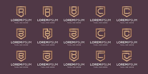 Set di lettera bc monogramma e combinazione di segno di scudo. Vettore Premium